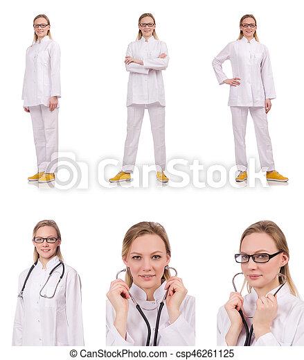 Una doctora aislada en el blanco - csp46261125
