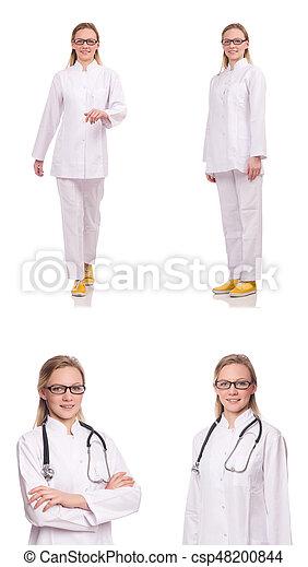 Una doctora aislada en el blanco - csp48200844