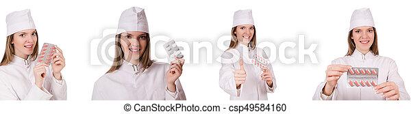 Una doctora aislada en el blanco - csp49584160