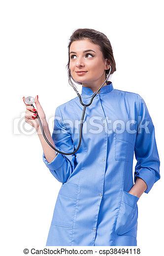 Una doctora aislada en el blanco - csp38494118
