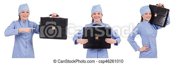 Una doctora aislada en el blanco - csp46261010