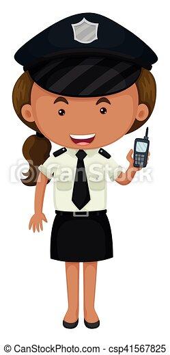Policía con uniforme blanco y negro - csp41567825