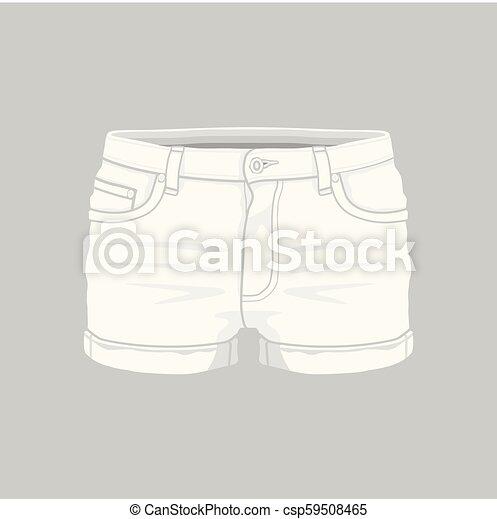 Calzoncillos De Vaqueros Blancos De Mujer Vistas Frontales De Pantalones Vaqueros De Mujer Blanca De Fondo Blanco Canstock