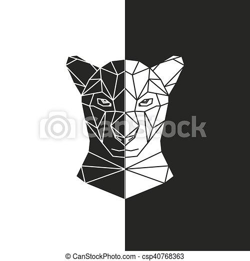 Blanco, negro, cabeza, pantera. Cabeza, silueta, illustration ...