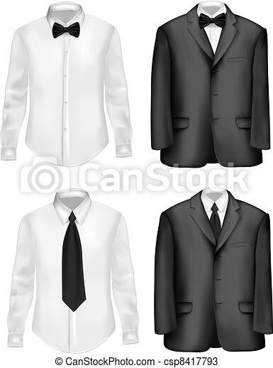 Traje negro y camisas blancas - csp8417793