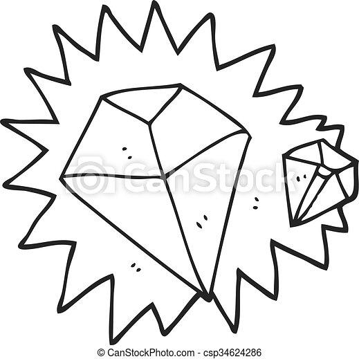 Blanco, negro, caricatura, diamantes. Diamantes, negro,... vector ...