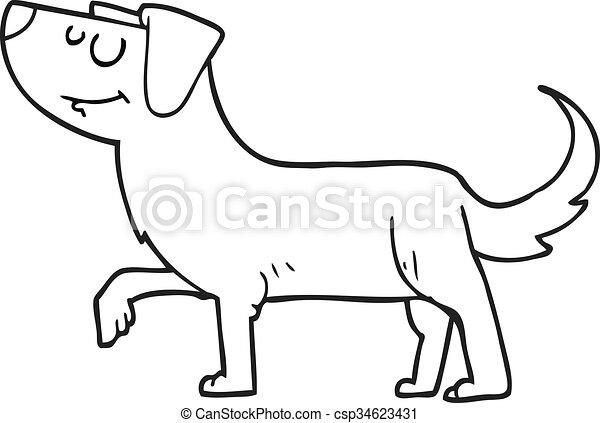 Blanco Negro Caricatura Perro Perro Negro Freehand