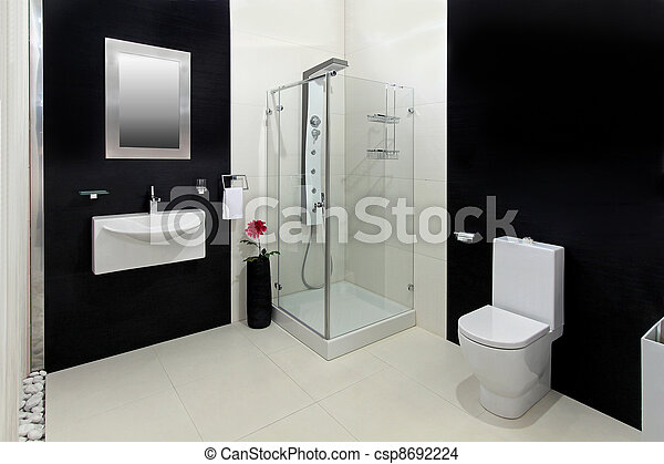 Blanco, negro, cuarto de baño. Cuarto de baño, moderno, negro ...