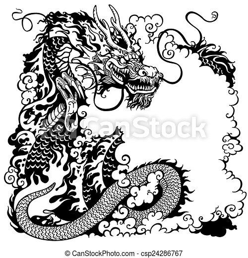 Blanco Negro Dragón Chino Tatuaje Chino Ilustración Dragón