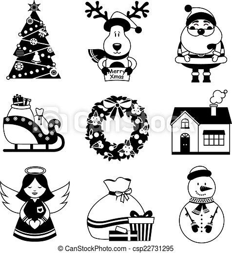 Iconos De Navidad En Blanco Y Negro Los Iconos Decorativos