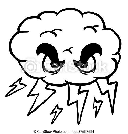 blanco, negro, nube de tormenta - csp37587584