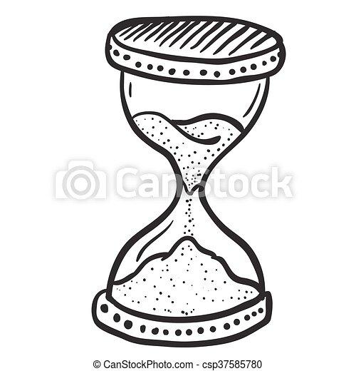 Blanco Negro Reloj De Arena Blanco Negro Caricatura Reloj De
