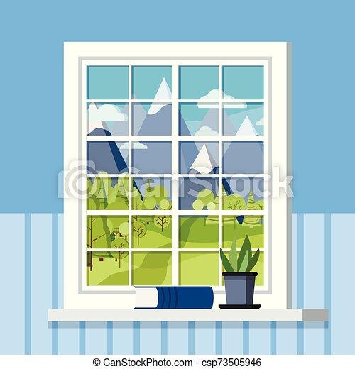 El marco de la ventana de plástico de la habitación blanca con una planta en una olla y un libro en el alféizar de la ventana en caricatura plana. - csp73505946