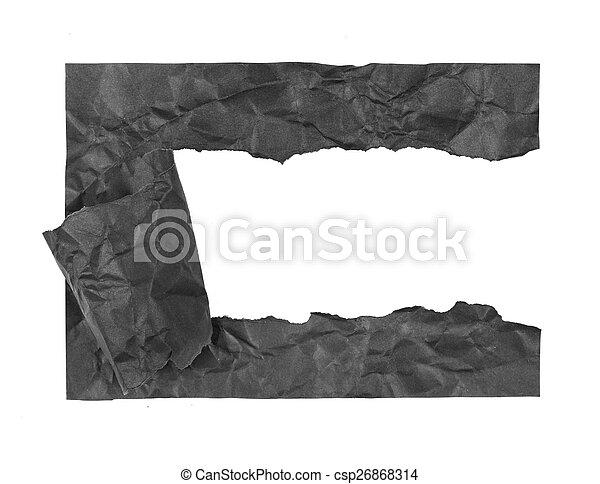 Papel negro sobre un fondo blanco - csp26868314