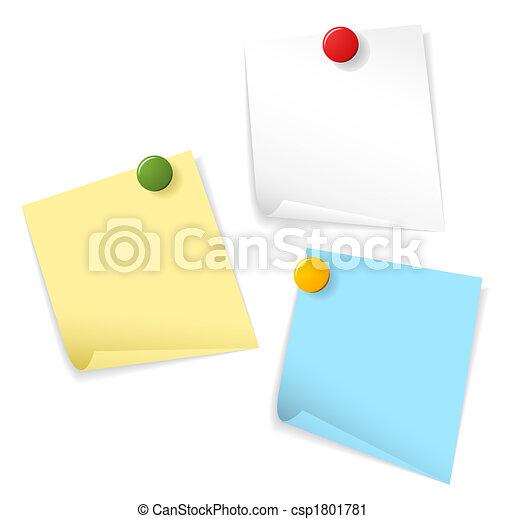 Papeles pegajosos aislados en el fondo blanco - csp1801781