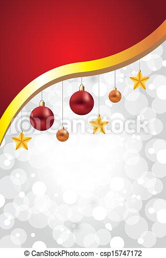 Un fondo blanco de Navidad con pelotas y estrellas - csp15747172