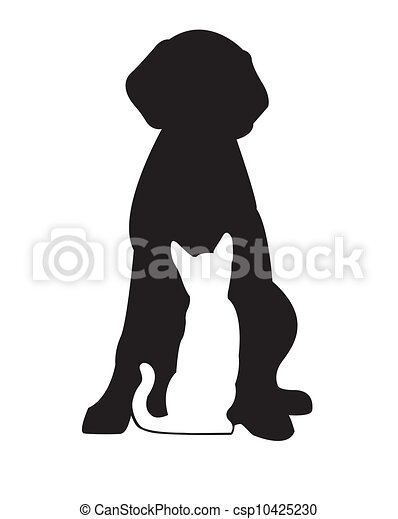 Perro negro y gato blanco - csp10425230