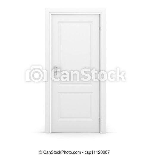 Tercera puerta blanca en el fondo blanco - csp11120087
