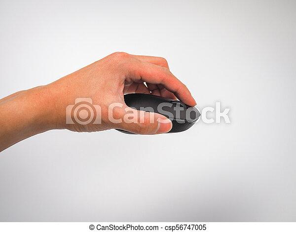 Mano de ratón sosteniendo fondo blanco - csp56747005
