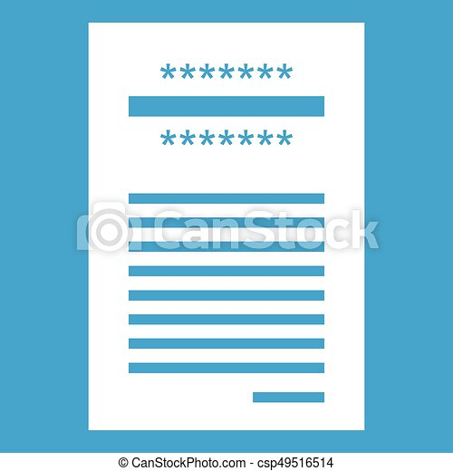 blanco recibo ventas impreso icono azul recibo aislado