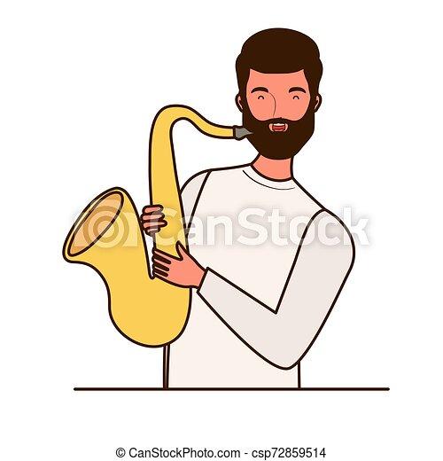 Un joven con saxofón de fondo blanco - csp72859514