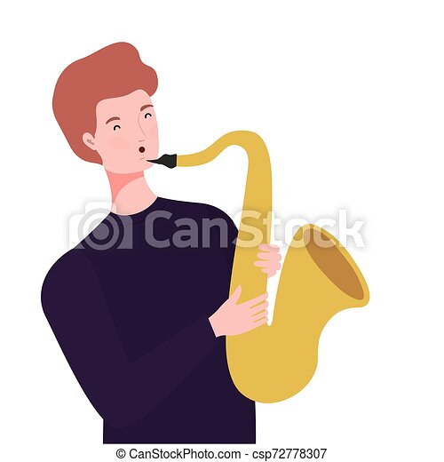 Un joven con saxofón de fondo blanco - csp72778307