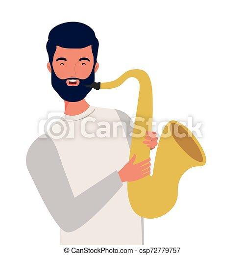 Un joven con saxofón de fondo blanco - csp72779757