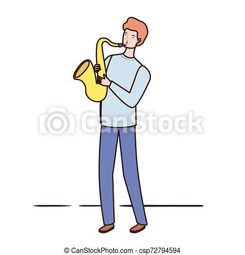 Un joven con saxofón de fondo blanco - csp72794594