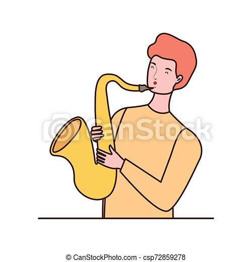 Un joven con saxofón de fondo blanco - csp72859278