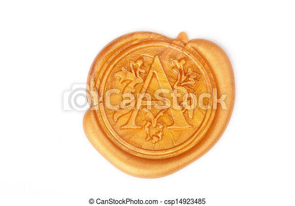 blanco, sello, aislado, oro, cera - csp14923485