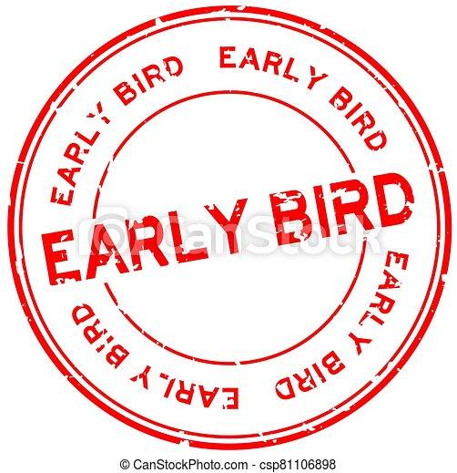 blanco, sello, temprano, grunge, pájaro, estampilla, plano de fondo, redondo, caucho, rojo, palabra - csp81106898