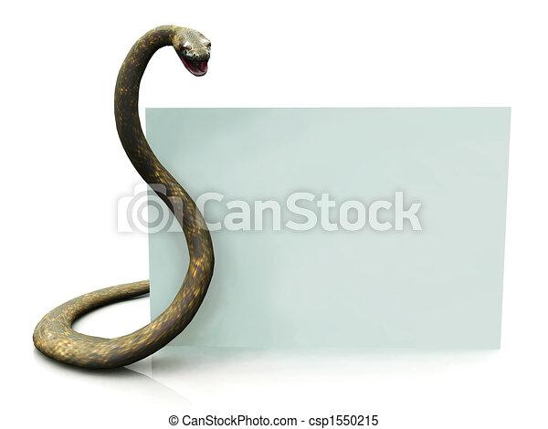 Rattlesnake con una señal en blanco - csp1550215