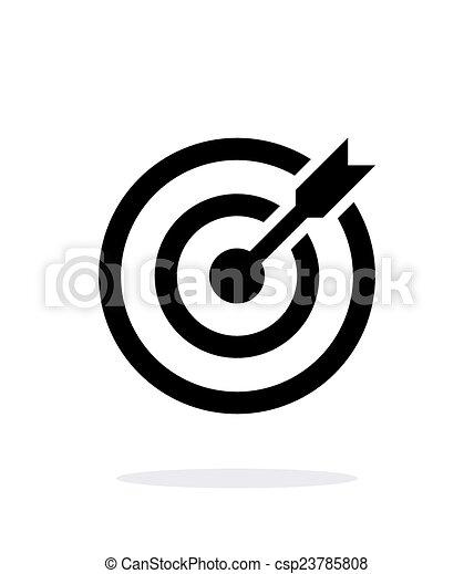 Tiro exitoso. Los Dardos apuntan al icono del fondo blanco. - csp23785808