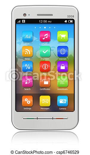 Un teléfono blanco - csp6746529