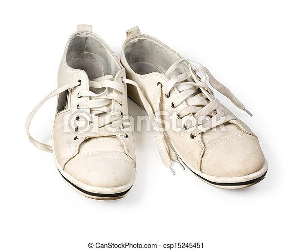 Zapatos blancos sucios - csp15245451