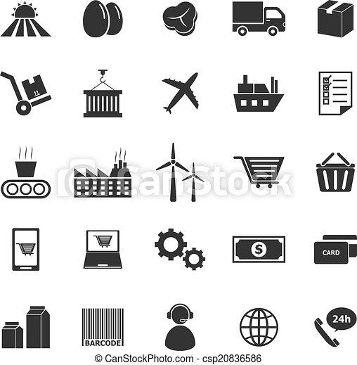 Iconos en cadena de suministros en fondo blanco - csp20836586