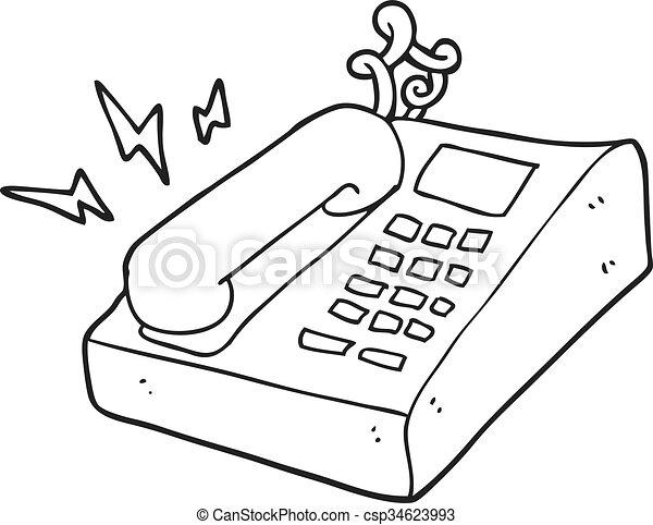 Blanco tel fono negro oficina caricatura tel fono de for Oficina de empleo telefono informacion