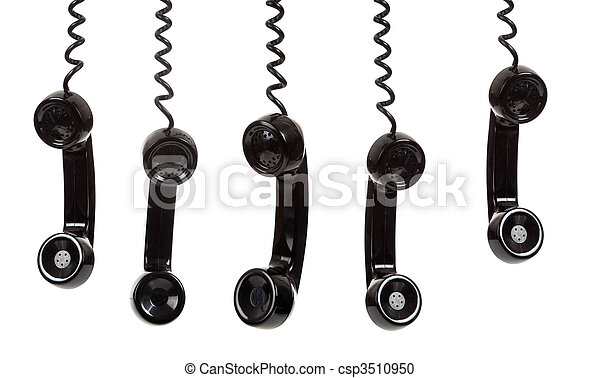 blanco, teléfono negro, plano de fondo, receptor - csp3510950
