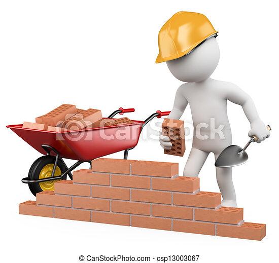 3D blancos. Trabajador de construcción - csp13003067
