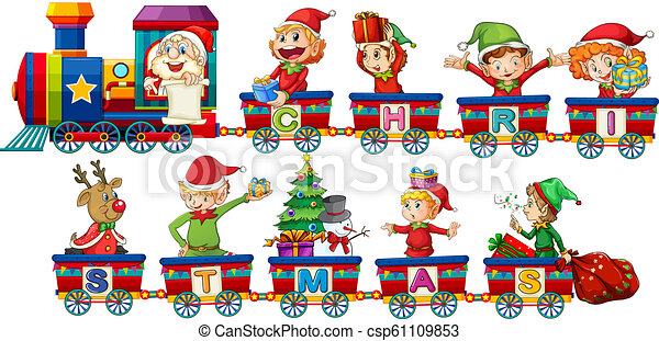 Tren de Navidad en fondo blanco - csp61109853