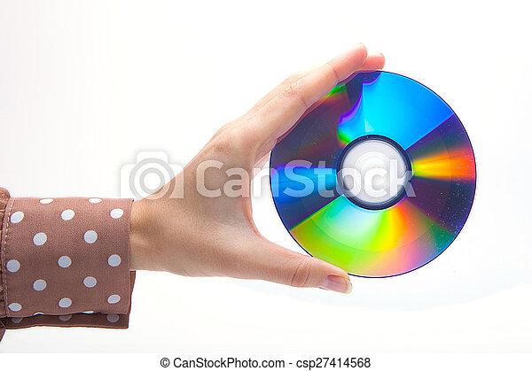 Mujer sosteniendo un CD blanco - csp27414568