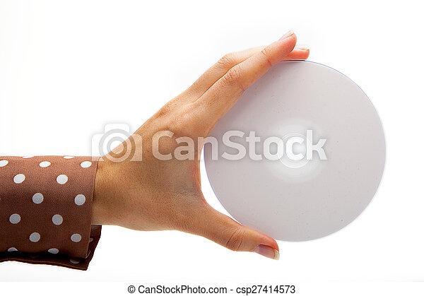 Mujer sosteniendo un CD blanco - csp27414573