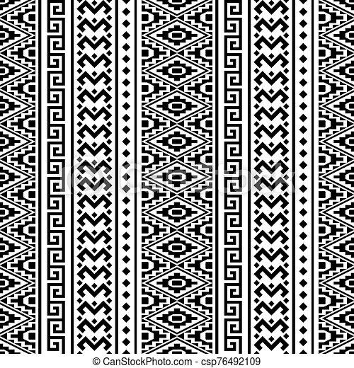 blanco, vector, étnico, seamless, color, patrón, negro - csp76492109