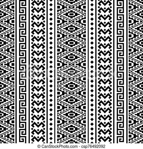 blanco, vector, étnico, seamless, color, patrón, negro - csp76492092