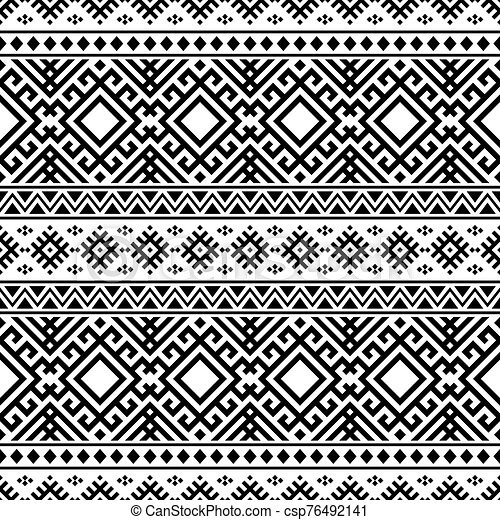 blanco, vector, étnico, seamless, color, patrón, negro - csp76492141