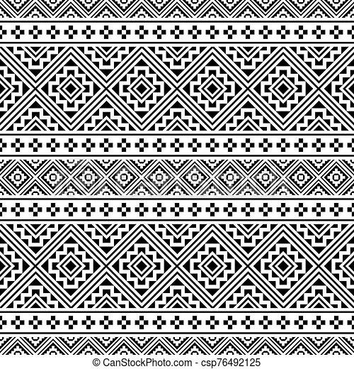 blanco, vector, étnico, seamless, color, patrón, negro - csp76492125