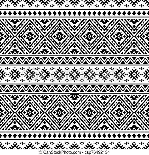 blanco, vector, étnico, seamless, color, patrón, negro - csp76492134