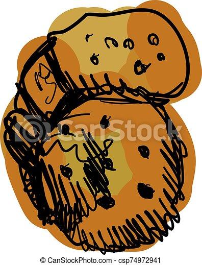 blanco, vector, ilustración, fondo., galletas, coloreado - csp74972941