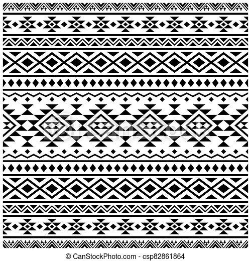 blanco, vector, pauta fondo, étnico, tribal, seamless, negro, color diseño - csp82861864
