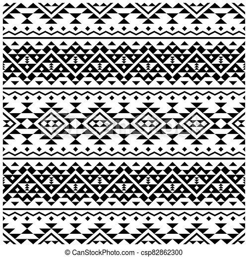 blanco, vector, pauta fondo, étnico, tribal, seamless, negro, color diseño - csp82862300